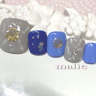 #オールシーズン #フット #シンプル #ワンカラー #大理石 #ブルー #グレー #ジェル #ネイルチップ #マーリエ private nail salon malie #ネイルブック
