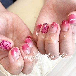 #禰豆子ネイル #ねづこネイル #ハンド #お客様 #ピンク #グラデーション #ショート #オールシーズン #ハロウィン #女子会 #ハンド #シンプル #グラデーション #ショート #ピンク #ジェル #お客様 #reve1231 #ネイルブック