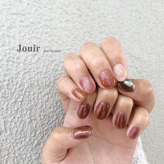 #ハンド #シンプル #ニュアンス #ミラー #ワイヤー #ピンク #パープル #ブラウン #Jouir for beauty - hair nail eyelash- #ネイルブック