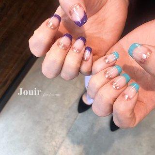 #ハンド #シンプル #フレンチ #変形フレンチ #ミラー #ピンク #ターコイズ #パープル #Jouir for beauty - hair nail eyelash- #ネイルブック