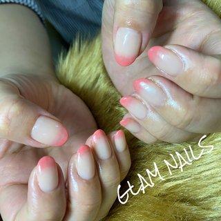 #グラデーション#ピンク#サーモンピンク#ベージュ#ねずこネイル #ねずこ風#鬼滅#オールシーズン #グラムネイルズ #ハンド #フィルイン #オールシーズン #ハンド #シンプル #グラデーション #ミディアム #ベージュ #ピンク #asami_glam_n #ネイルブック