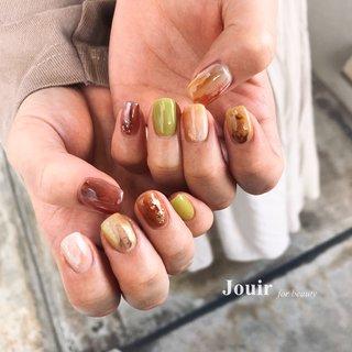 #ハンド #ニュアンス #マーブル #ミラー #オレンジ #ボルドー #ブラウン #Jouir for beauty - hair nail eyelash- #ネイルブック