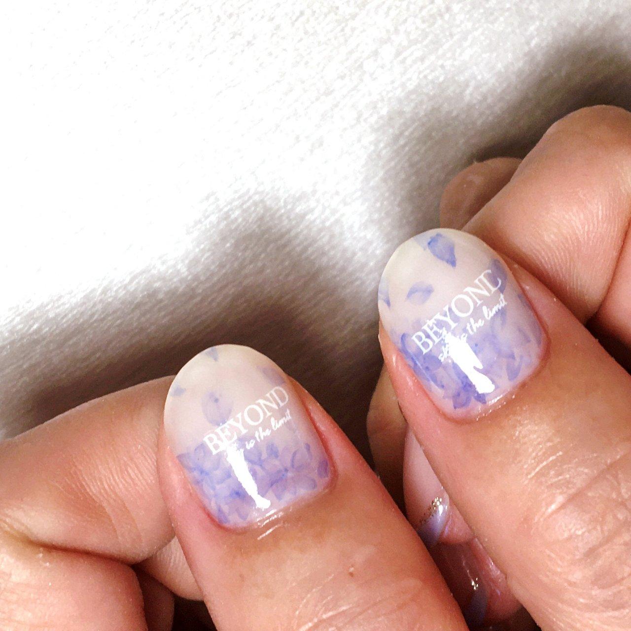 #アン先生のデザインを参考 #紫陽花ネイル #エアジェル フレンチ #zero_mam_nail #ネイルブック