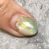 #ハンド #ニュアンス #ショート #ホワイト #グリーン #ゴールド #ジェル #private salon Hoimi! #ネイルブック