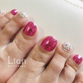 #フット #ビジュー #ミラー #ピンク #シルバー #お客様 #Lian Karuizawa #ネイルブック
