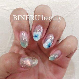 梅雨時期の紫陽花ネイル✨✨💕💕 #アジサイネイル #梅雨ネイル #水色ネイル #キラキラネイル #BINERU beauty #静岡ネイルサロン #BINERU beauty #ネイルブック