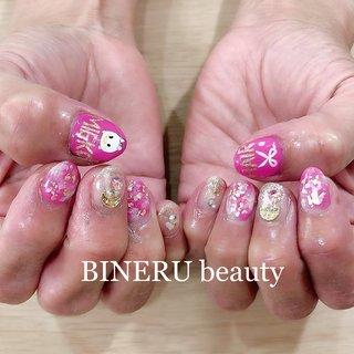 母のネイルやりました😁✨ #母のネイル #美容師ネイル #ツムツムネイル #ツムツム好き #BINERU beauty #静岡ネイルサロン #BINERU beauty #ネイルブック