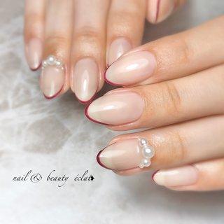 #シンプルネイル #ヌーディカラー #スキニーフレンチ#赤フレンチ #nail & beauty éclat❥ #ネイルブック