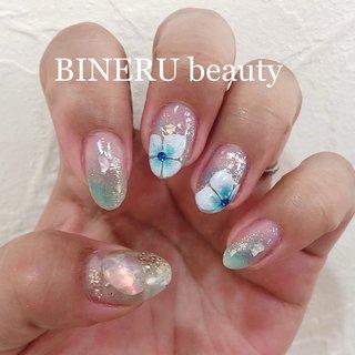 アジサイネイル💙 #水色ネイル #アジサイネイル #梅雨ネイル #BINERU beauty #BINERU beauty #ネイルブック