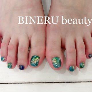 水色✖︎緑のクリアネイル✨ #フットネイル #夏フットネイル #フットネイルデザイン #涼しげネイル #BINERU beauty #静岡ネイルサロン #BINERU beauty #ネイルブック