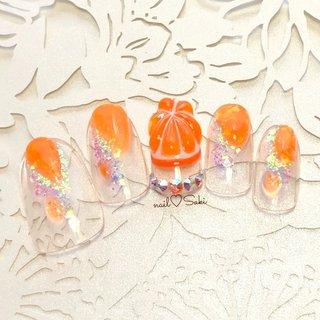 #オレンジ #オレンジネイル #夏 #夏ネイル #夏ネイルデザイン #夏ネイル2020 #シースルー #夏 #ハンド #ホログラム #ラメ #シースルー #トロピカル #クリア #オレンジ #ジェル #nail♡Saki #ネイルブック