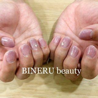 シンプルワンカラーネイル💕ワンポイントサービス付きです💕 #ワンカラー #ワンポイントネイル #ピンクネイル #BINERU beauty #静岡ネイルサロン #BINERU beauty #ネイルブック