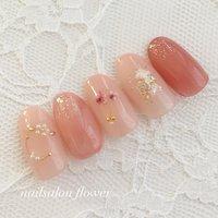 #春 #夏 #ハンド #シェル #押し花 #ピンク #nailsalon flower #ネイルブック
