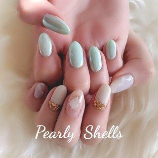 #オールシーズン #ハンド #ワンカラー #ニュアンス #オーロラ #ミラー #ジェル #pearly.shell.s #ネイルブック