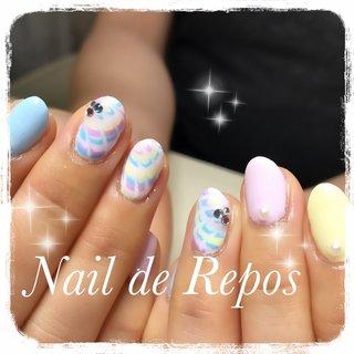 #ハンド #ピーコック #パステル #Nail de Repos〜ルポ〜 #ネイルブック