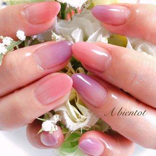 simpleもたまにはいいです♪♪ ピンクと透明感あるパープルは、お肌馴染みが良く白さを引き立てる素敵な感じでした⭐︎  #シンプルネイル #ナチュラルカラー #ピンク #パープル #グラデーション #カルジェル #calgel #オフィスネイル #京都ネイルサロン #丹波橋ネイルサロン #アビアント #オールシーズン #オフィス #女子会 #ハンド #グラデーション #ミディアム #ピンク #パープル #ジェル #お客様 #京都伏見Abientotprivatenailsalon カルジェル専門ネイルサロン #ネイルブック