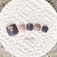 #フット #フットネイル #footnails #夏 #秋 #冬 #オールシーズン #フット #ワンカラー #シェル #ショート #ベージュ #パープル #ゴールド #ジェル #ネイルチップ #nailsalon_polite #ネイルブック