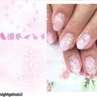 夏祭りの浴衣のようなイメージです #ピンク #nightgelnail #ネイルブック