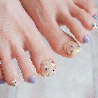 #フットネイル#夏ネイル#ドライフラワー#押し花ネイル#かわいいネイル #ange nail salon #ネイルブック