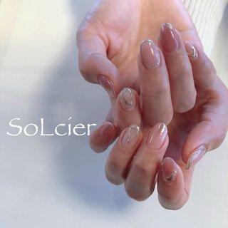 #ハンド #ニュアンス #ミラー #ピンク #シルバー #【SoLcier】ソルシエ #ネイルブック