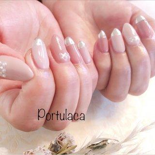 ミラー&ピンクネイル♡  #ミラー #ピンク #ダスティーネイル  #くすみピンク  #春夏ネイル   くすみピンクにピリッとミラーがきいてますね〜♪パールの並びもアクセントで可愛い〜☺︎  いつもありがとうございます♡ #パール #ミラー #ピンク #メタリック #Portulaca #ネイルブック