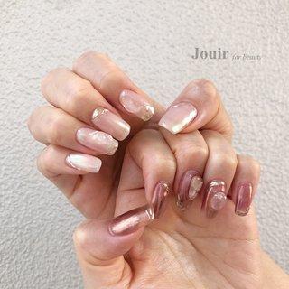 #ハンド #大理石 #ニュアンス #ミラー #ホワイト #クリア #ピンク #Jouir for beauty - hair nail eyelash- #ネイルブック