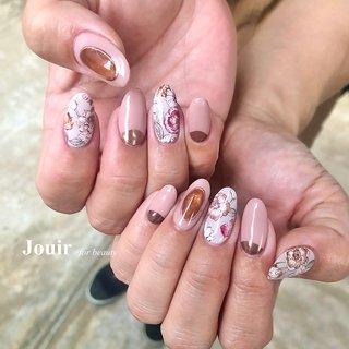 #ハンド #フラワー #ミラー #ベージュ #ピンク #グレージュ #Jouir for beauty - hair nail eyelash- #ネイルブック