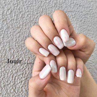 #ハンド #シンプル #ワンカラー #オーロラ #ミラー #ホワイト #ピンク #パステル #Jouir for beauty - hair nail eyelash- #ネイルブック