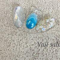 #夏#夏ネイル#波ネイル #天然石ネイル #ニュアンス#シェル #ホワイト #水色 #グレージュ #Nail CY #ネイルブック