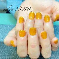 ご来店ありがとうございました😊  キャメルオレンジが可愛いですよね♪ クリア感を増すことで、この季節でも充分馴染んでくれますよ!  #ハンド #ジェル#キャメルオレンジ#ワンカラー #オールシーズン #フット #ワンカラー #ショート #オレンジ #ジェル #お客様 #salon NOIR #ネイルブック