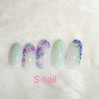 #紫陽花ネイル #夏 #フラワー #S-nail #ネイルブック