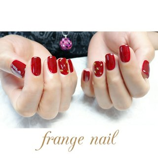 #ハンド #星 #レッド #ジェル #お客様 #frange nail #ネイルブック