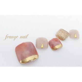 オレンジ×ピンクで作った肌馴染みの良い大人なフットネイル👣  #大理石風ネイル #大人フットネイル #フット #大理石 #マーブル #ベージュ #ピンク #オレンジ #ジェル #ネイルチップ #frange nail #ネイルブック