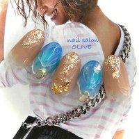#笑顔nails #大人可愛い #ブルー #ベージュ #海 #ラメ #マリンネイル  #夏  #大人キレイ #夏 #ハンド #ラメ #グラデーション #マリン #ベージュ #水色 #ブルー #ジェル #ネイルチップ #nail salon OLIVE #ネイルブック