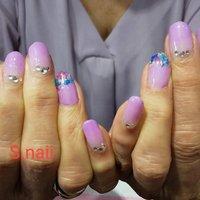 #紫陽花カラー #ハンド #グラデーション #ワンカラー #押し花 #パープル #お客様 #S-nail #ネイルブック