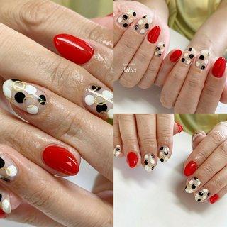 #ドット柄 #白黒ドット #レッド #クリアネイル #春 #夏 #バレンタイン #海 #ハンド #ワンカラー #ドット #ミディアム #ホワイト #レッド #ブラック #ジェル #Tomomi Hirose #ネイルブック
