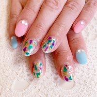 #夏ネイル #ワンカラー #シェル #水色 #ピンク #春夏デザイン #マット #nailbeare #ネイルブック