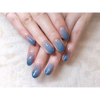 絶妙なくすみブルー むらグラデーション🦋 ご来店ありがとうございました🙇♀️💓 ・ ネット予約はネイルブックにて承っております #nails #nailart#blue nails#ネイルアート#ブルーネイル#グラデーションネイル#ニュアンスネイル#シンプルネイル#大人ネイル#仙台ネイルサロン #お客様 #高橋 #ネイルブック