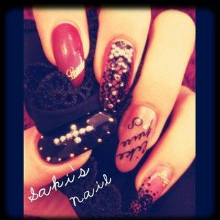 #個性派 #ロリータネイル #ピンク #ブラック #SAKI #ネイルブック