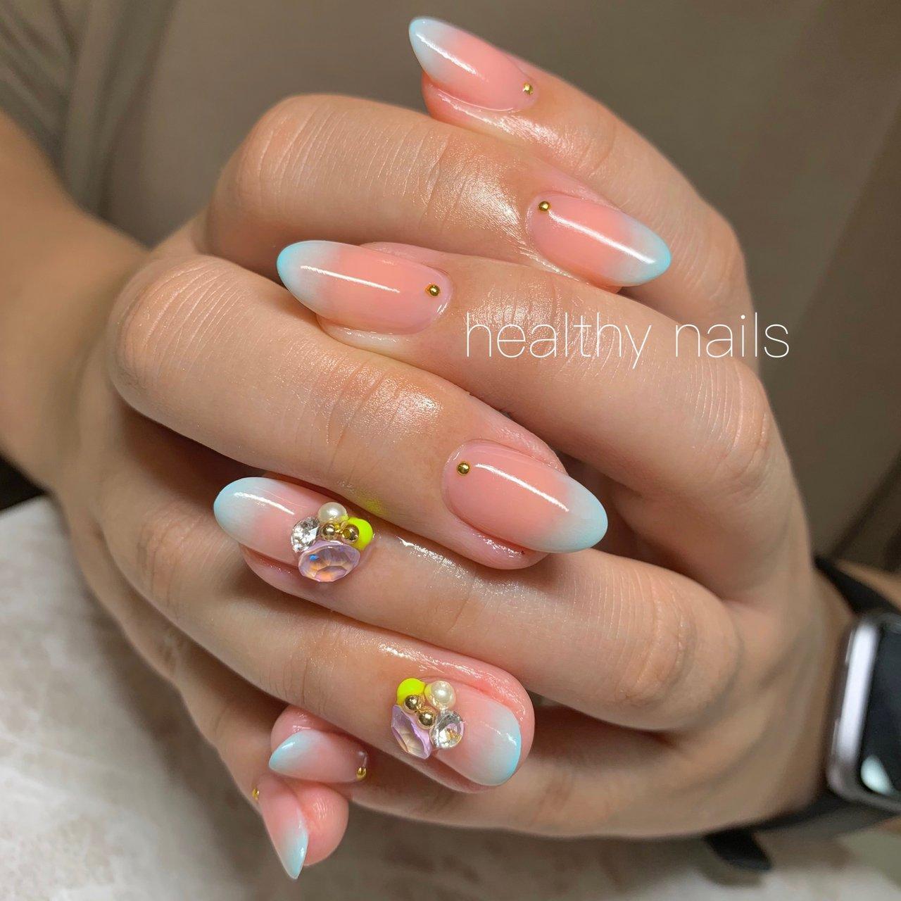 #春 #夏 #オールシーズン #リゾート #ハンド #healthy nails #ネイルブック