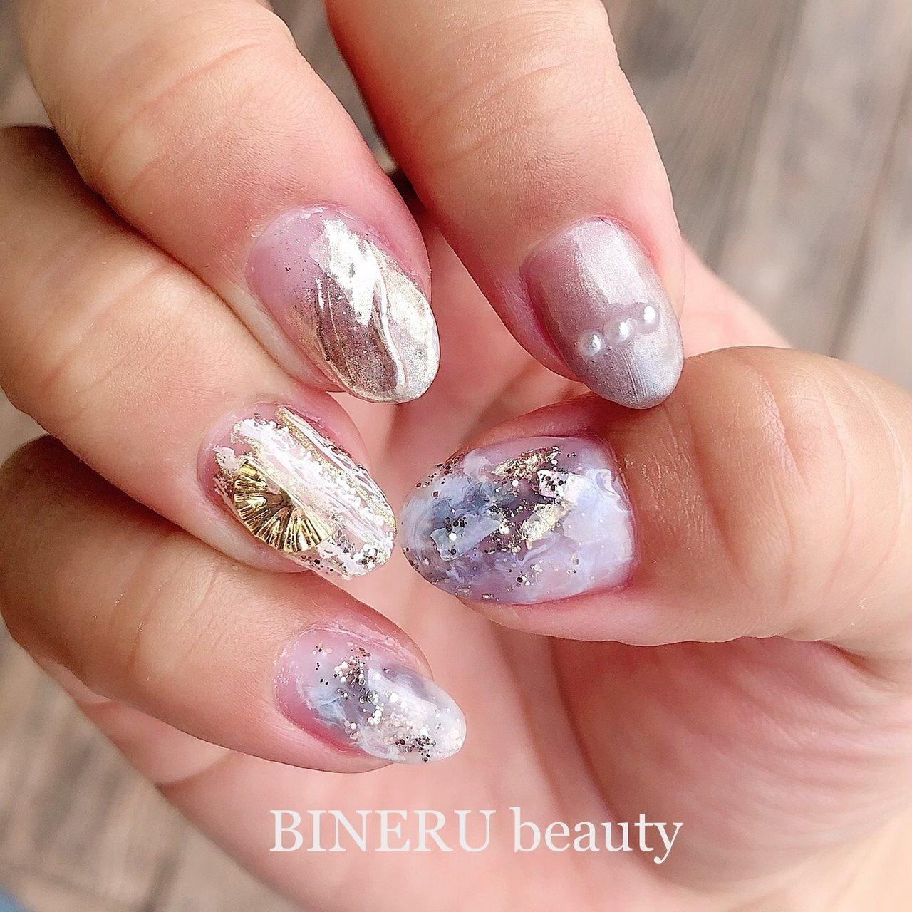 MY nail❤️ #梅雨ネイル #ニュアンスネイル #ミラーネイル #BINERU beauty #静岡ネイルサロン #BINERU beauty #ネイルブック