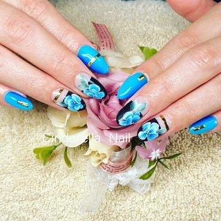 #夏 #ブルー #お花#カッコいいネイル #春 #夏 #cinderellanail #ネイルブック