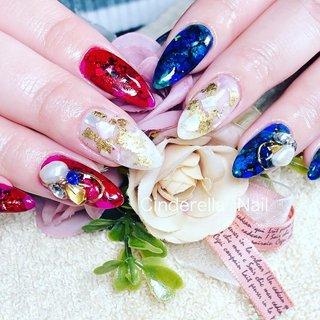 #夏 #ピンク#赤#派手カワネイル #cinderellanail #ネイルブック