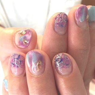 紫陽花ネイル💅❤️今年は目まぐるしく月日が流れています。 #紫陽花ネイル #丁寧なケア #powerofnail #ネイルパフェ #春 #夏 #梅雨 #女子会 #*Little Salon Cure* byN #ネイルブック
