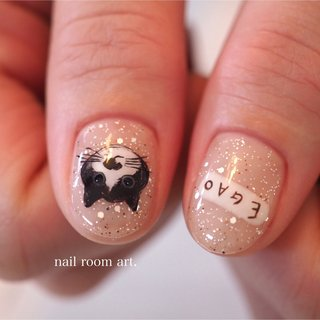#猫ネイル #ネコネイル #オールシーズン #ハンド #アニマル柄 #モノトーン #ジェル #nail room art. #ネイルブック
