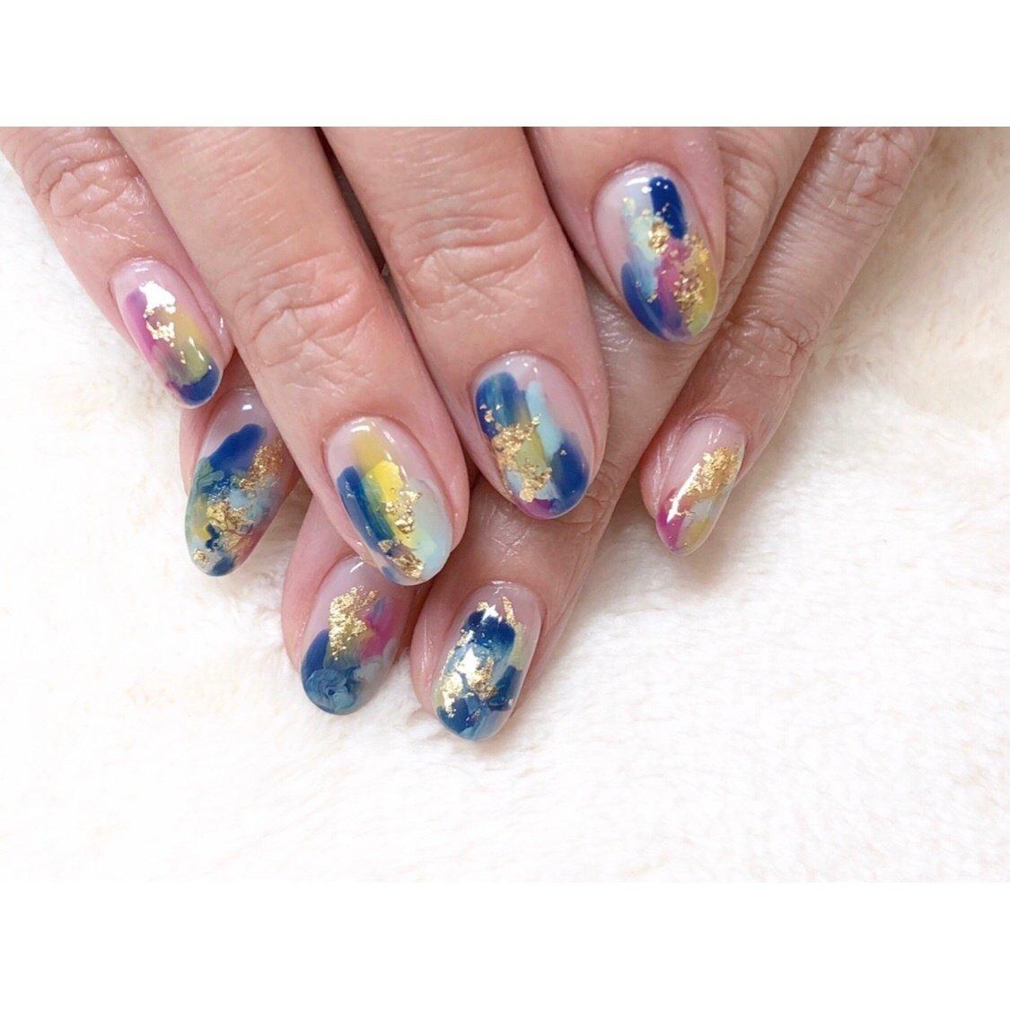 梅雨のニュアンス☔️ #nails #nailart #naildesign #nailstagram #ネイルアート#ニュアンスネイル#梅雨ネイル#金箔ネイル#仙台ネイルサロン #高橋 #ネイルブック