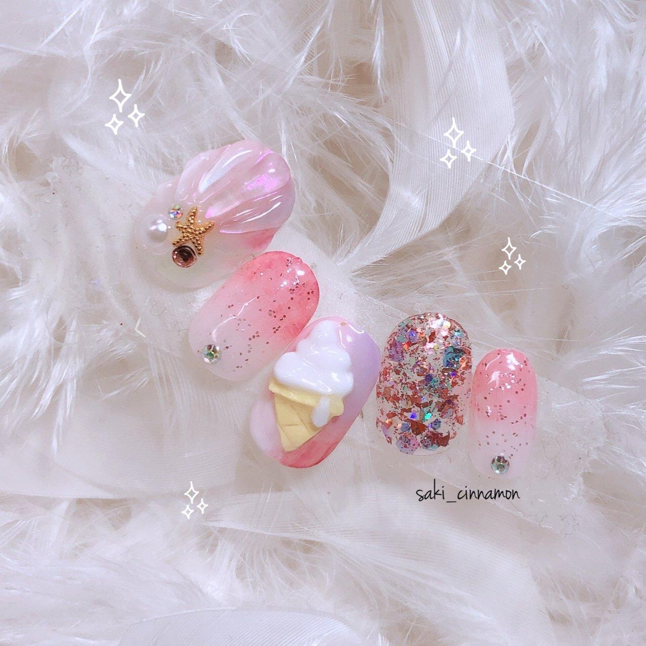 夏〜😆😋🍦🦄🍬💫✨   #ネイル #ジェルネイル #ネイルアート #nail #nails #nailart #gelnail #福岡ネイル #福岡ネイルサロン #大牟田ネイル #美甲 #ゆめかわネイル #夏 #ラメ #3D #人魚の鱗 #スイーツ #マーブル #ピンク #saki_cinnamon #ネイルブック