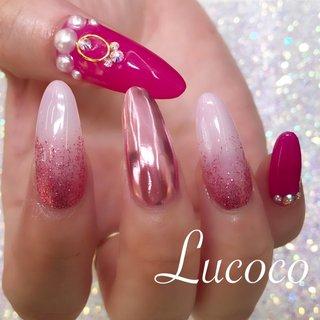 #持ち込みデザイン #スカルプネイル #gelnails #ピンクネイル #ロング #お客様 #Lucoco #ネイルブック