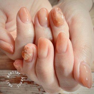 ぷっくりナチュラル天然石ネイル🧡  #コーラル#カラグラ#天然石ネイル#ニュアンス#nails #nail #nailfootnail #newnail #gelnail #ネイル#nailart #ネイルサロン #ネイルアート #ネイル #ネイルデザイン#国分寺ネイルサロン #シンプルネイル #大人ネイル #大人かわいい #トレンドネイル#人気ネイルデザイン#beauty #cute #春ネイル#夏ネイル#国分寺ネイル#nailatelierÄrmel#Ärmel#国分寺ネイルアトリエエルメル #オールシーズン #オフィス #デート #女子会 #ハンド #グラデーション #水滴 #大理石 #ニュアンス #ベージュ #ピンク #オレンジ #ジェル #nail atelier Ärmel ネイルアトリエ エルメル #ネイルブック