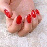 simple Red #オールシーズン #ハンド #シンプル #ワンカラー #ミディアム #レッド #sonrisa_nail #ネイルブック